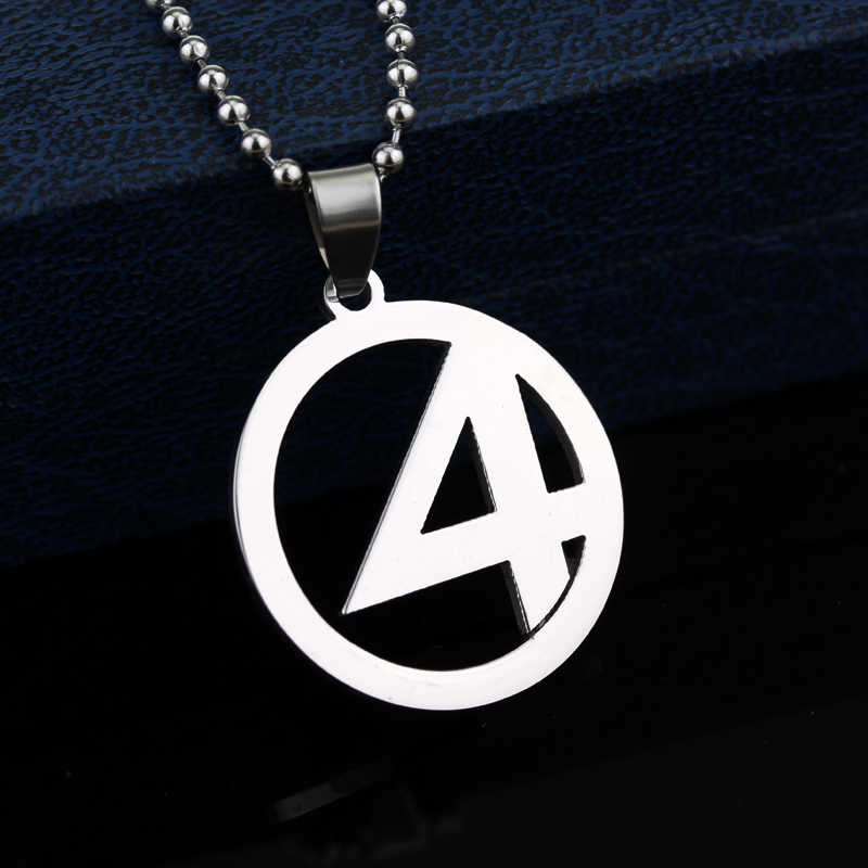 Hot Marvel Fantastic Four Logo Necklaces Superhero Stainless Steel Pendant Metal Alloy Men Jewelry Statement Necklaces for Women