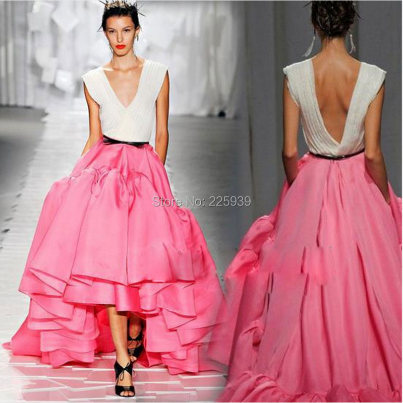Nueva llegada De blanco y rosa alto bajo baile vestidos largos ...
