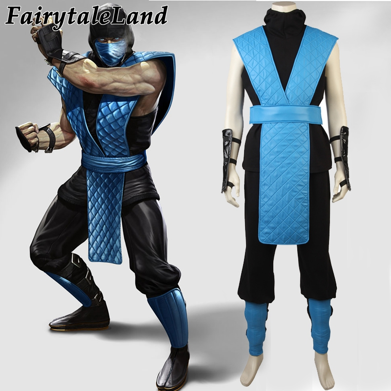 Mortal Kombat X Sub-Zero Cosplay Costume Halloween Costumes Custom made Cosplay Sub-Zero Costume Hot Game Costume Suit