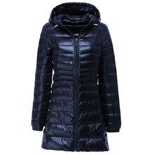 Женский пуховик, брендовая новинка, зимние теплые куртки, женский длинный светильник, пуховик на белом утином пуху, 5XL, 6XL, 7XL, ультра-светильник, пальто с капюшоном