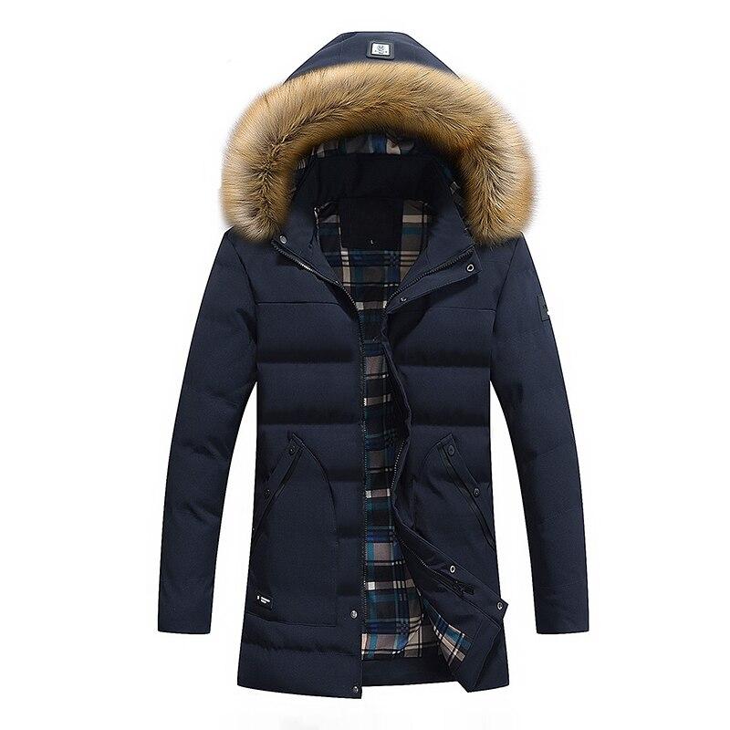 drop shipping New Men Winter Jacket Fashion Thick Warm -30 Winter Outerwear Long Coat Fur Windbreak Removable Hood   Parkas   ABZ78