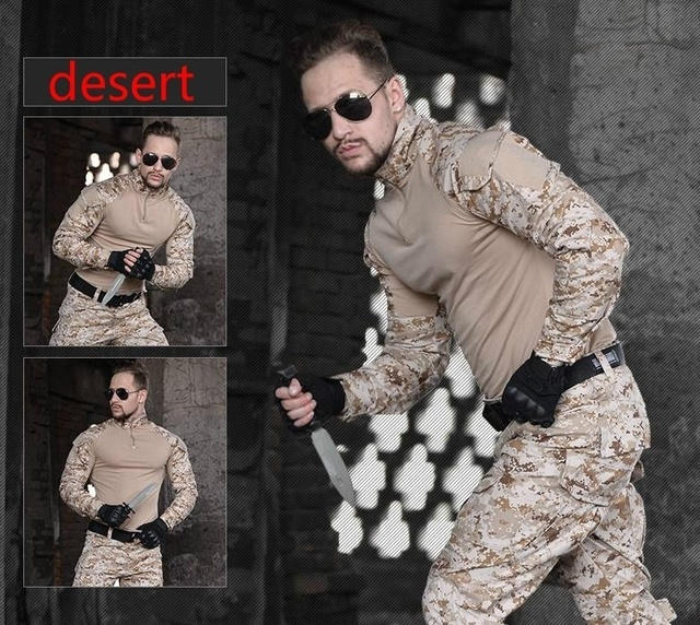 HAN WILD Mens Outdoor Hiking Shirt Military Clothing German Camouflage Uniform Combat Shirt Tactical Clothing for Hunting Males 4