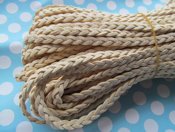 6mm 100m Beige Braided Faux Suede Leather Cords String Rope Jewelry Beading String For Bracelet Necklace