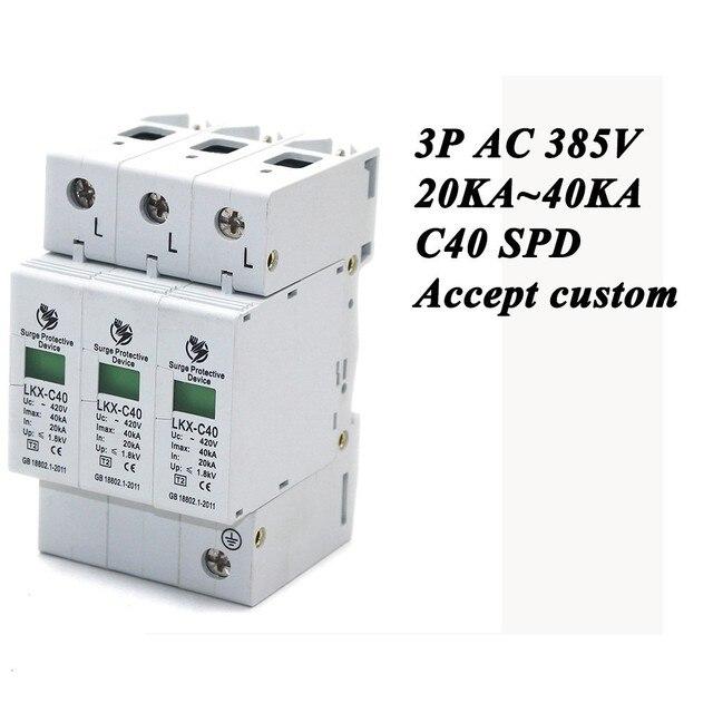Hot sale C40 3P 20KA~40KA ~385V AC SPD House Surge Protector ...