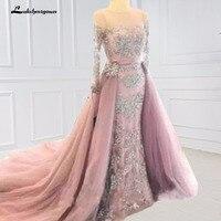 Вечернее Выпускные платья розовый Кружево одежда с длинным рукавом Вечерние платья кристаллы Съемная юбка вечернее платье формальный хала