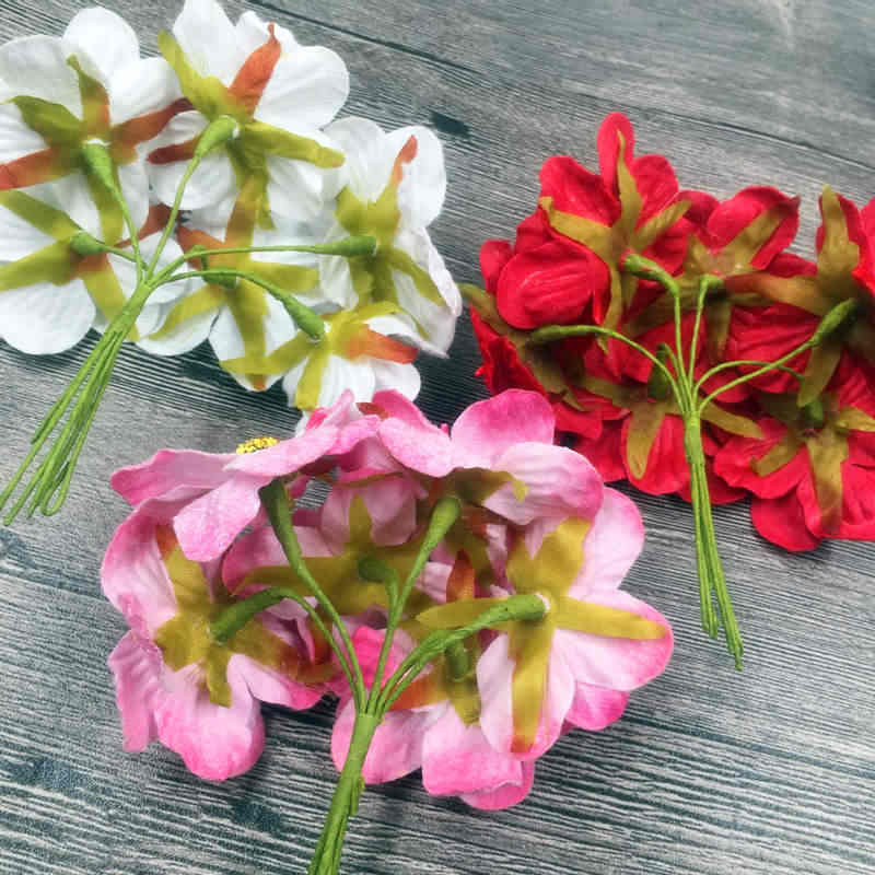 6 Pcs 5 Cm A Buatan Kain Flanel Bunga Matahari Karangan Bunga