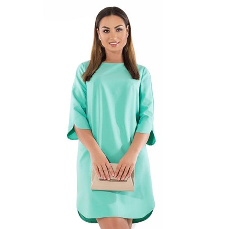 Plus Size 6XL Autumn Dress straight Solid short dress Casual long Sleeve women Elegant Dress Office Big Size Vestidos 2019 robe short dresses office wear