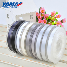 YAMA 100yards Single Face Satin Ribbon 6 9 13 16 19 22 mm Black Red White Silver for Wedding Decoration Handmade Flowers Gifts