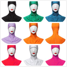 2018 Beautiful stylish hijab modal muslim satin head scarf Womens small hat shawl ladies Islamic arab elastic under scarf cap