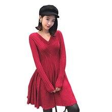 Kenvy высокого класса люксовый бренд Женская мода v-образным вырезом красный с длинными рукавами вязаное платье
