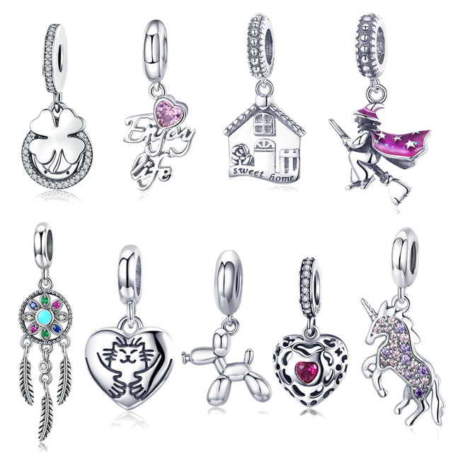 925 Sterling Silver Magic Witch Pendant Charms Beads fit Original Pandora Bracelet Charms