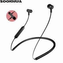 SOONHUA V4.2 Magnética Esportes Fone de Ouvido Bluetooth Fone De Ouvido Sem Fio Estéreo Apoio TF cartão de Fone de ouvido Para o iphone Samsung