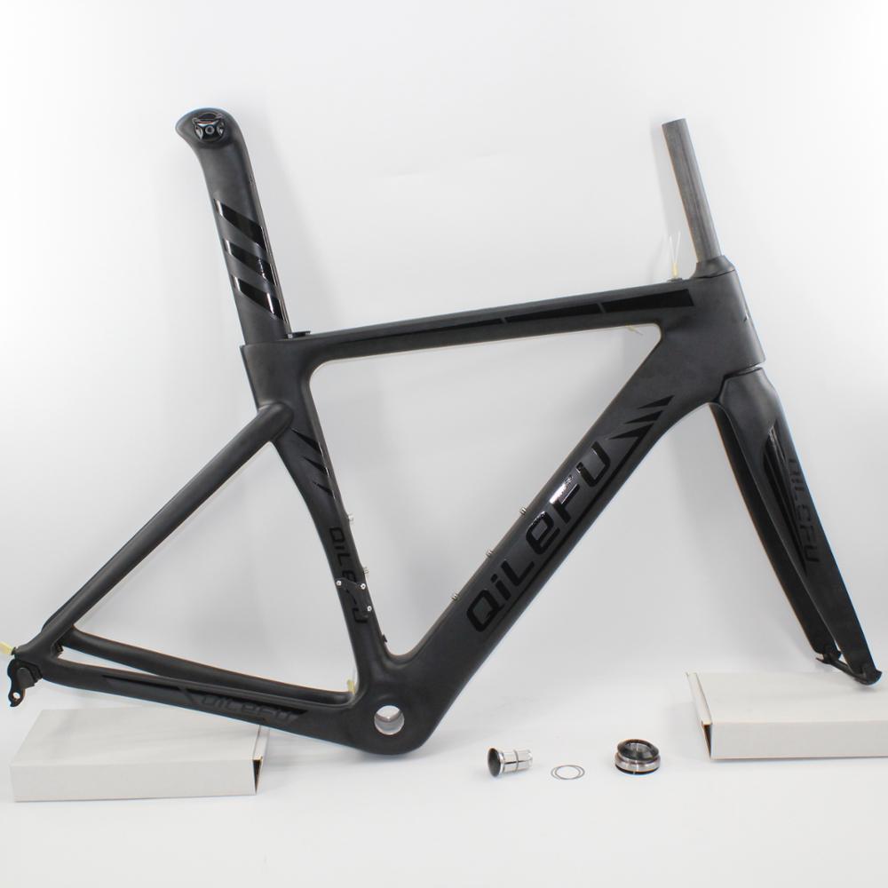 Nuovo matt + gloss logo QILEFU corsa 700C Road bike UD completa in fibra di carbonio telai di biciclette forcella reggisella headset spedizione gratuita