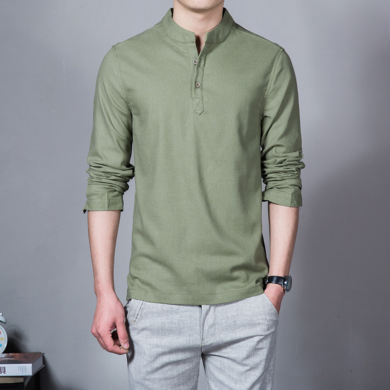 2019 spring summer Men 39 s Linen Cotton Blended Shirt Mandarin Collar Breathable Comfy Traditional Chinese Style Popover Henley in Casual Shirts from Men 39 s Clothing