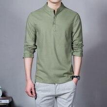 2019 spring summer Men's Linen Cotton Blended Shirt Mandarin
