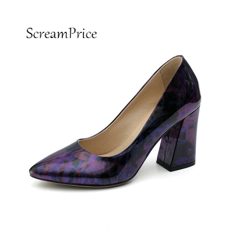 2018 The New Slip On Thick High Heel Comfortable Lazy Shoes Fashion Pointed Toe Party High Heel Women Pumps Purple Green qiu dong in fashionable boots sexy and comfortable women s shoes the new national style high heel heel thick heel