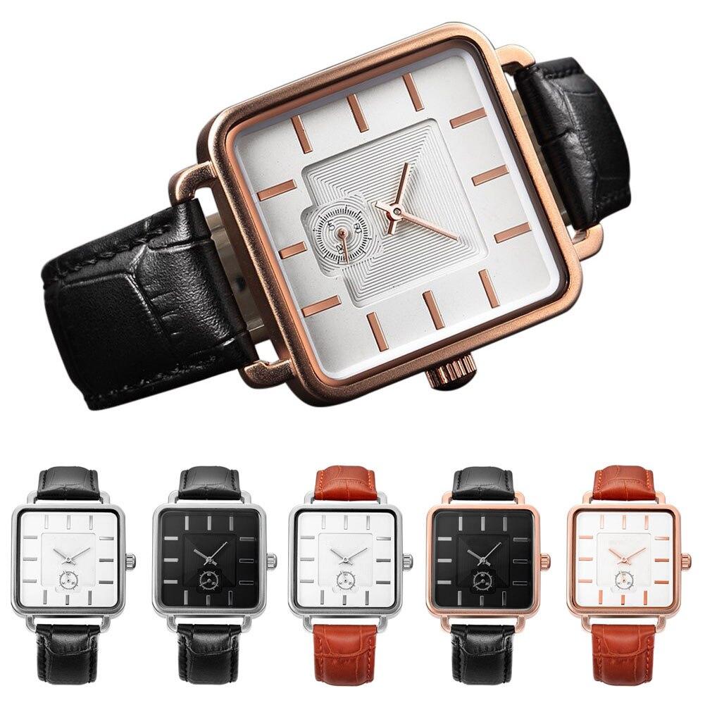 New Fashion Men Square Dial Quartz Watch PU Leather Strap Business Watches Wristwatch Clock Gifts @17 TT@88
