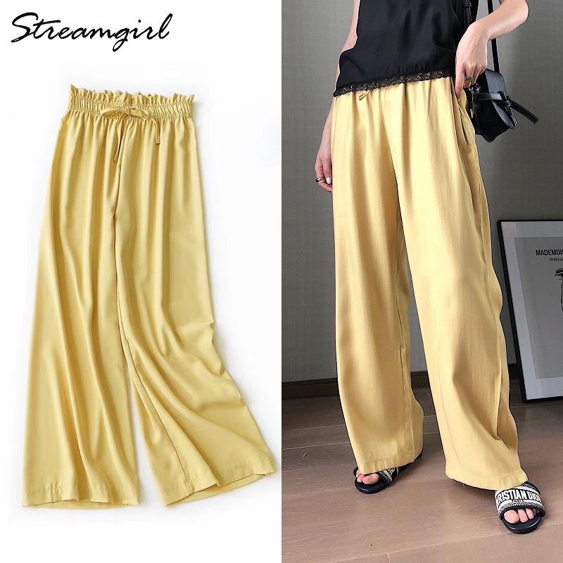 Wide     Leg   Satin Silk   Pants   Women Trousers High Waisted Elegant Summer Solid Color   Wide     Leg     Pants   Women Satin Trousers Loose New