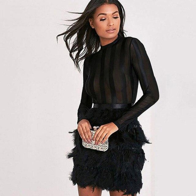 18f8f39c7 Aliexpress.com: Comprar Seamyla 2018 nuevo vestido de vendaje de mujer  Bodycon Vestidos de primavera Sexy de malla plumas Clubwear Vestidos de  fiesta ...