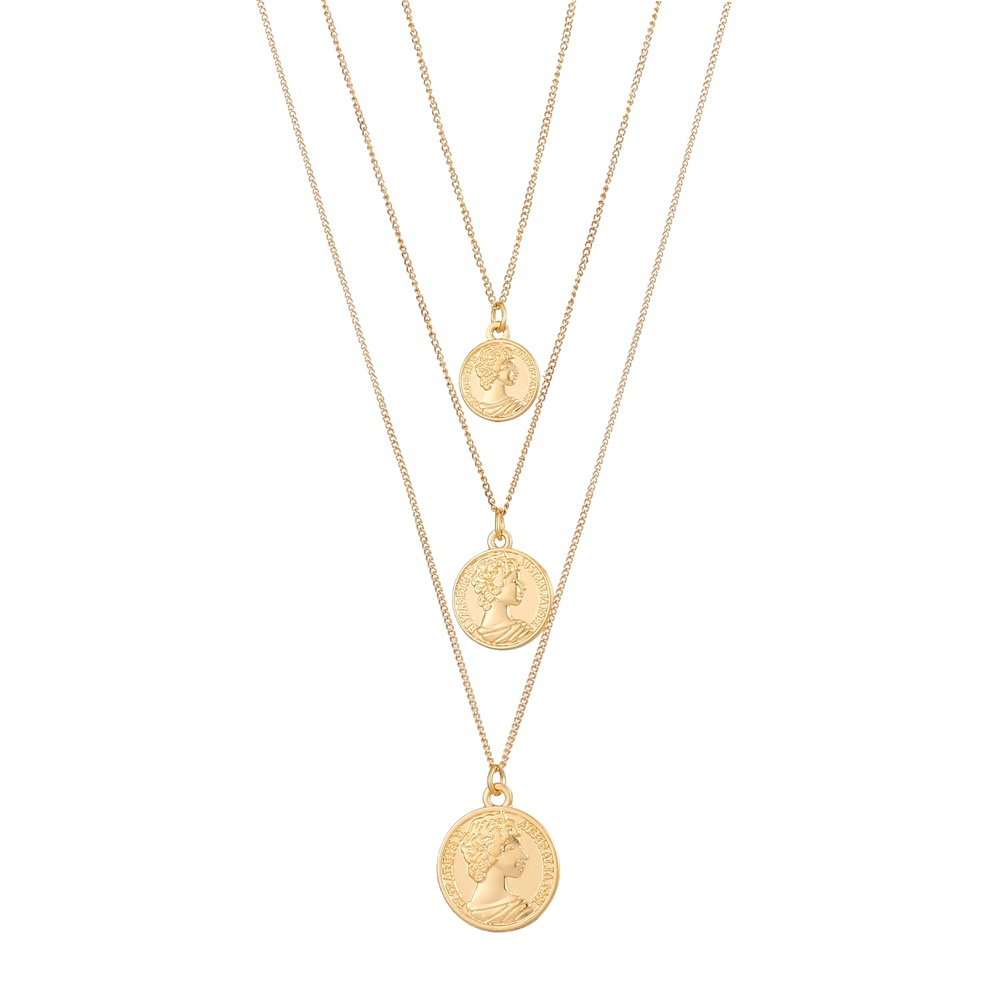 Винтажное резное ожерелье с монеткой для женщин, модное золотое ожерелье с медальоном, несколько Подвеска со слоями, длинное ожерелье, ювелирные изделия в стиле бохо