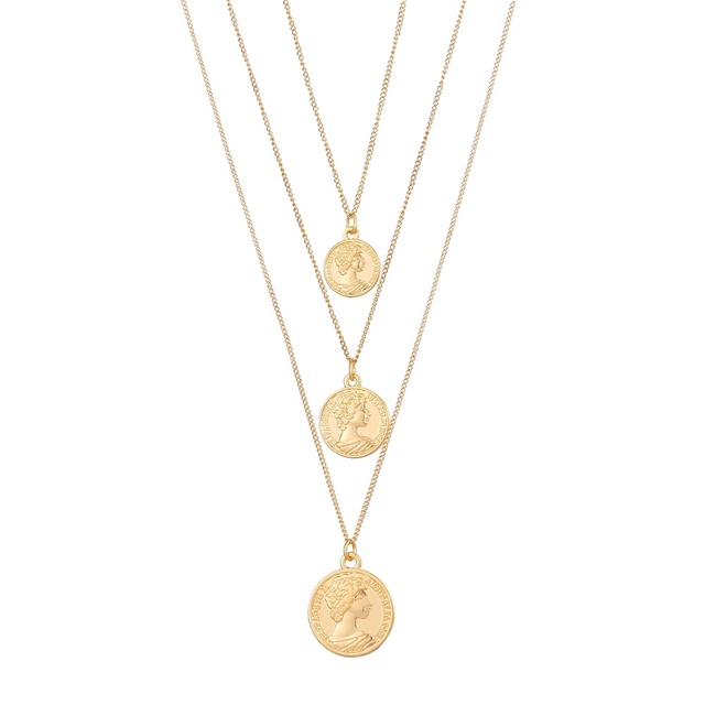 Gold Color Medallion Necklace Multiple Layers Pendant Long Necklaces