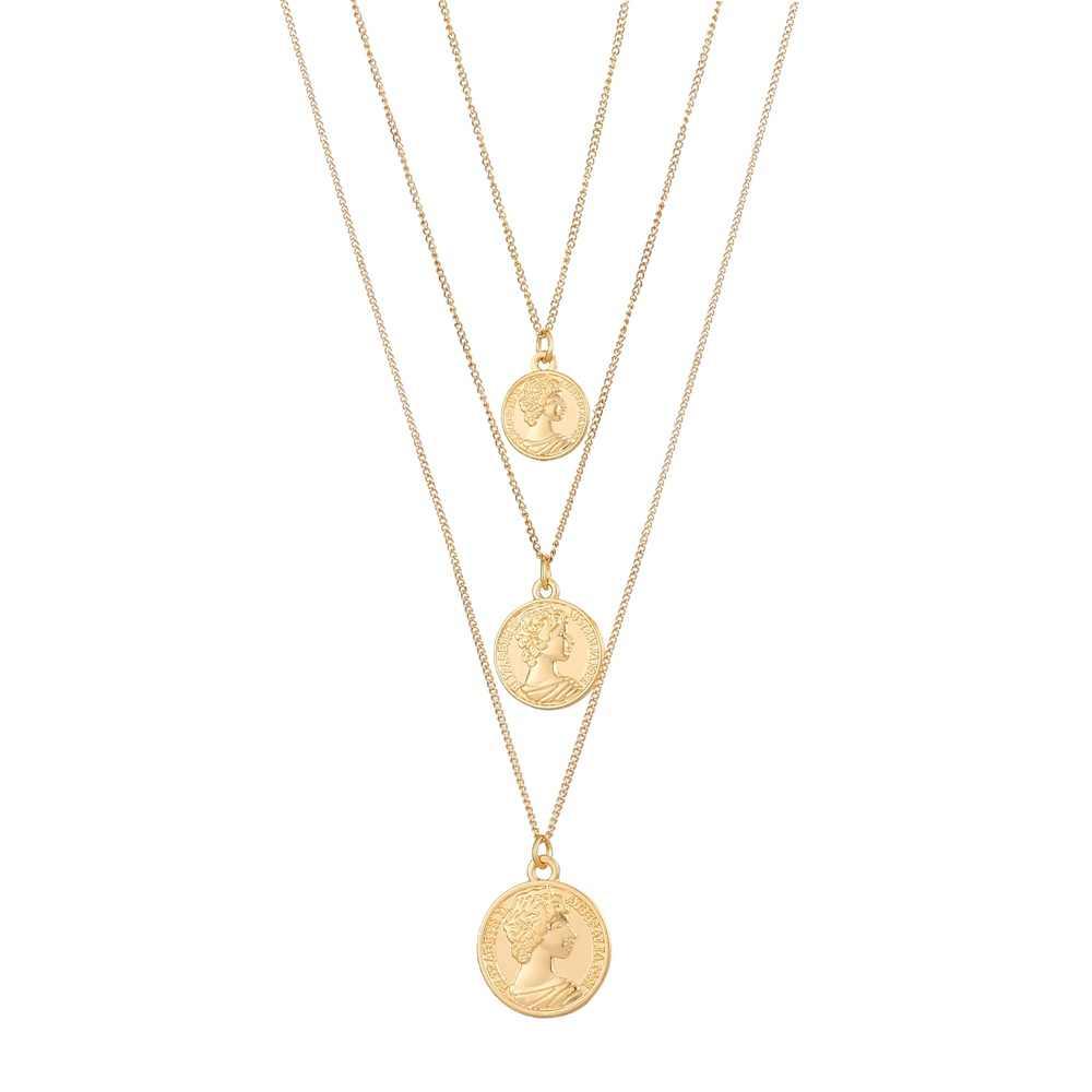 Vintage rzeźbione monety naszyjnik dla kobiet moda złoty kolor medalion naszyjnik wielu warstw wisiorek długie naszyjniki biżuteria boho
