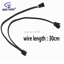 цены на 10pcs/lot 4 Pin PWM Fan Cable 1 to 2 Y Splitter Black Sleeved Extension Wire  в интернет-магазинах