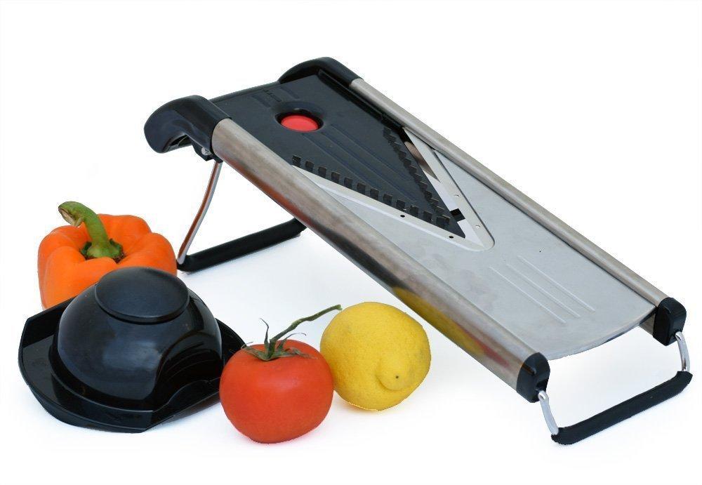 Professional Mandoline Slicer - Potato, Vegetable & Food Mandoline with 5 Blades Julienne,grate,slice and Dice. Best Every Cut