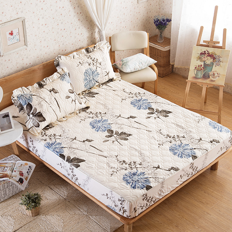 Cotton elegant floral fitted sheet european style fashion for Minimalist bed sheets