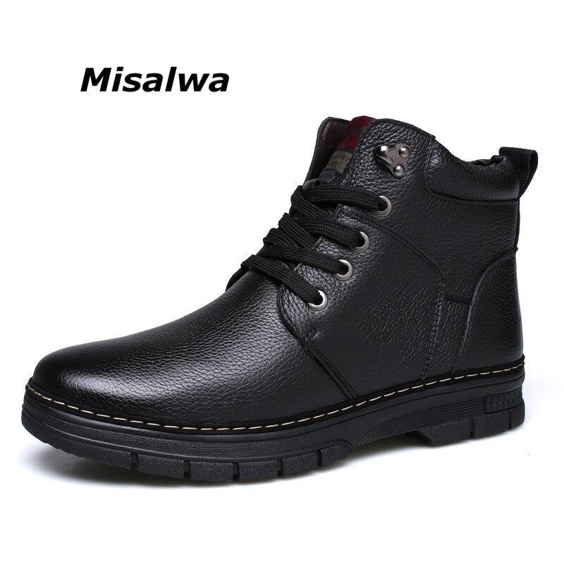 Misalwa Hommes de Classique Neige Bottes Noir Brun Véritable En Cuir Léger Chaud En Peluche laine Vêtements d'hiver Intempéries Bottes chaussures