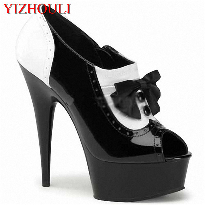 Fashion Color Block Women's Shoes 15cm Ultra High Heels Single Shoes Platform Shoes With 5 3/4 Inch Stiletto Heel