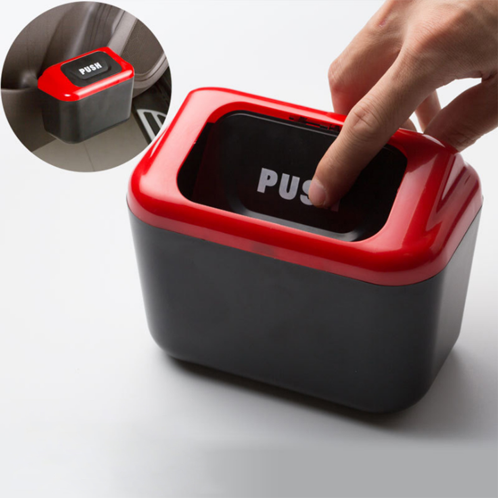 Universal Car Trash Can With Clip Auto Trash Bin Accessories For Garbage Bag 2 Lids Automatic Rubbish Organizer Storage