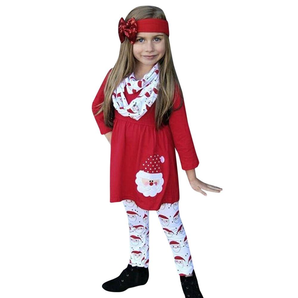 Xmas Christmas Children Kids Girls Cartoon Santa Dress+Pants+Headbands 3PCS//Set