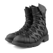 Высокие Мужские ботинки в байкерском стиле; зимние Ботинки martin из натуральной кожи; ботинки-дезерты