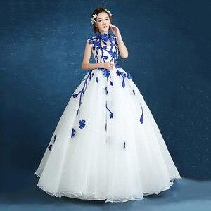 Image 3 - 980es De Quinceaneras 2021 nouveau col haut sans manches longues robes De Quinceanera fleur grande taille fermeture éclair sur mesure robe De bal L