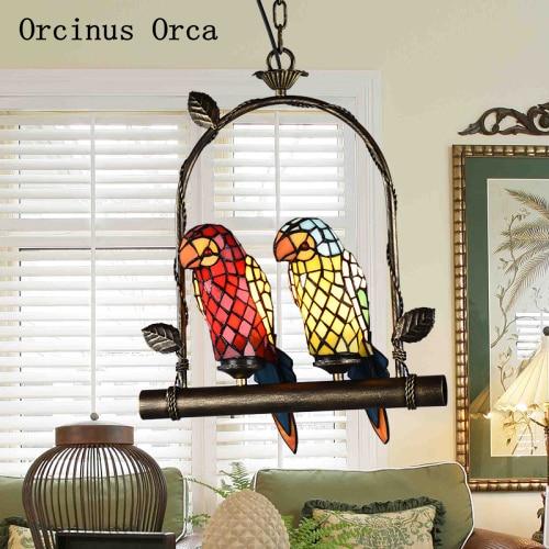 European retro coloured parrot chandelier living room dining hall corridor Mediterranean LED glass bird Chandelier