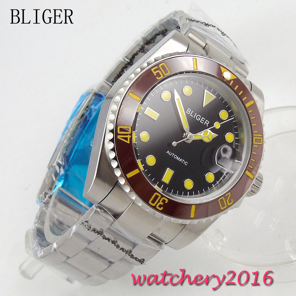 лучшая цена 40mm Bliger Auto Watch Sapphire Crystal black dial Brown ceramic Bezel luminous Bracelet Buckle Automatic Mechanical Mens Watch