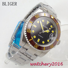 40mm Bliger Auto Watch Sapphire Crystal black dial Brown ceramic Bezel luminous Bracelet Buckle Automatic Mechanical Mens Watch