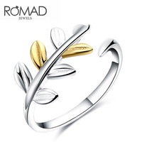 New Arrivals Gold Silver Leaves Plain 925 Silver Rings Adjustable Open Ring For Girl Women Rings