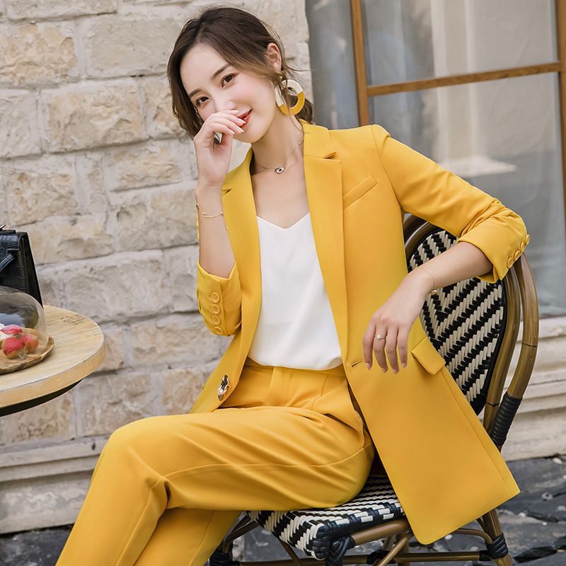 2019 New Ladies Suit Autumn Fashion Yellow Long Section Western Slim Body Slim Pants Two Sets Of Temperament Women's Clothing