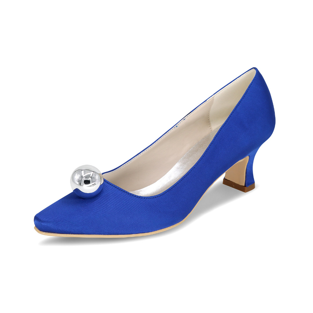 Comfortable satin hoof heel bridal wedding party prom evening dress shoes with silver ball on pointed