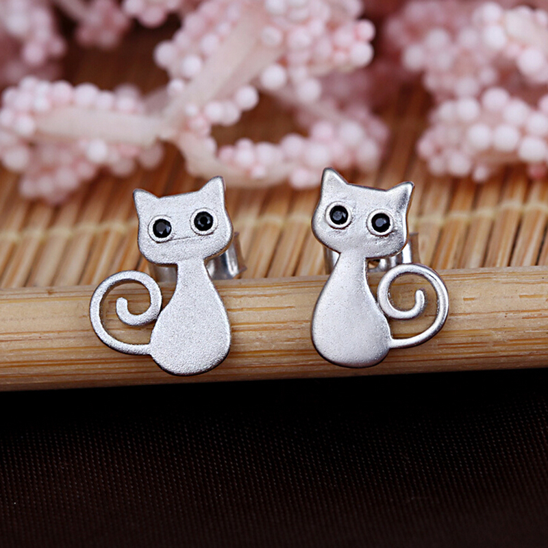 Silver Plated Lovely Cat Stud Earring Wholesale Women