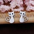 Silver plated lovely cat stud earring wholesale women earring jewelry cat jewelry