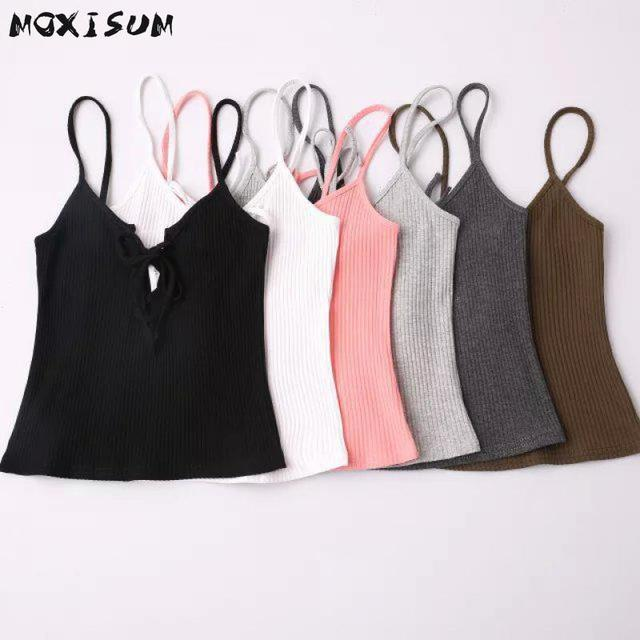 696ae088aa8 Lace Up Knitted Sexy Crop Top Women 2016 Black Tank Top Women Strappy Bra  Short Sleeveless