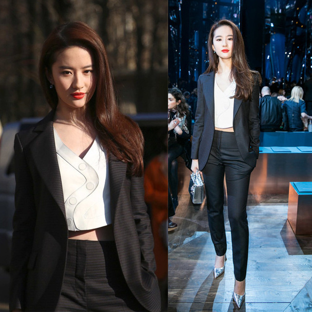 Spring New Liu Yifei The Same Three-piece Black Suit Fashion Repair Small Suit New Women Fashion Black Straight Trousers Stripe