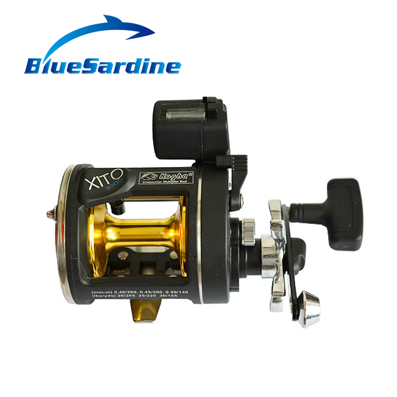 Metal Bait Casting Reel Drum Wheel Boat Sea Fishing Reel with Counter Baitcasting 3+1 BB 3.8:1 Gear Ratio