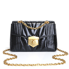 Fashion brand luxury chain-style handle design women messenger bags high quality cowhide embroidery thread chain bag