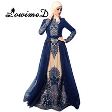 Navy Blue Muslim Evening Dresses 2017 In Dubai Arabic hijab Long Sleeves Formal Gowns Beaded Crystal Embroidery Prom Dress