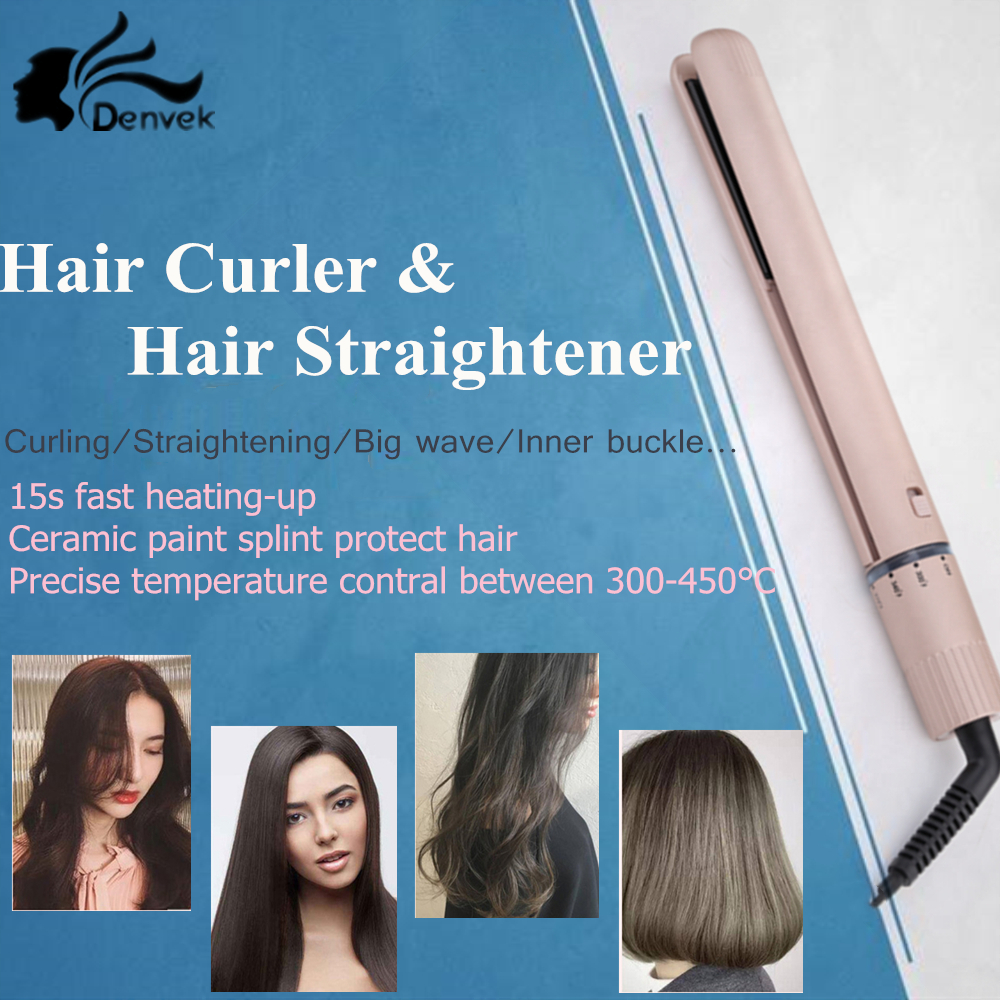 2 in 1 hair curler & hair straightener iron Professional Curling irons Ceramic Flat Iron protect hair curler hairstyle tools цена 2017