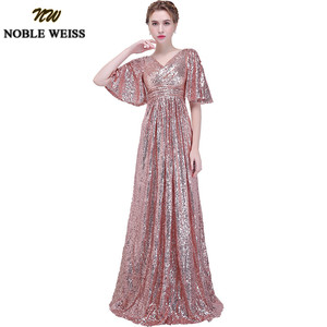 Image 1 - NOBLE WEISS Elegant Pink Sequined Prom Dresses 2019 Sexy V Neck Long Vestido De Festa for Party Gowns African Dress Pageant Wear